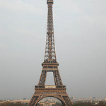 A photograph of the Eiffel Tower in Paris, France
