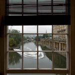 A photo of the river from a window on Poultney Bridge - Bath, England