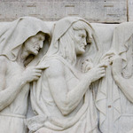 stone bas relief frieze of the three witches from Shakespeare Macbeth