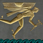 bas relief gilded sculpture of Mercury with wings on his feet