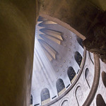 photo looking up into the ceiling of the church of the Holy Sepulchre in Jerusalem, with light streaming through