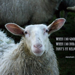photo of a sheep with a quotation by Abraham Lincoln about feeling good and feeling bad