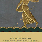 photo of bas relief of someone sowing seed and a quote about redemption by George Eliot
