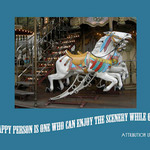 photo of a carousel with a quote about happiness, scenery, and a detour