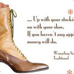 photo of a Victorian boot and a quote about the Wassailing Song