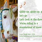 photo of a carousel horse with a quote about Christmas by Leroy Anderson