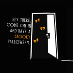 eyes peeping out from darkened doorway with spooky invitation to come in