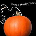 ghost peeking from behind a pumpkin with 'Have a ghostly Halloween'