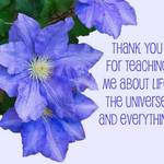 Clematis with text 'Thank you for teaching me about life, the universe, and everything.'