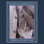 Check jacket and waistcoat with text 'Happy Father's Day: Proud of my Dad'