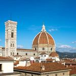 view of the Duomo in Florence from the roof garden of a nearby department store