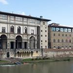 The Uffizi Gallery seen from across the River Arno in Florence, Italy