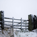 photo of a wooden gate in a stone wall in the snow in the Yorkshire Dales