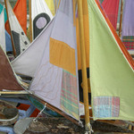 photo of colorful sails from toy boats
