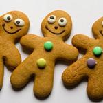 photo of three gingerbread men