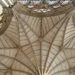 photo showing the vaulted ceiling of a church in Paris, France