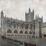 photo of the exterior of Bath Abbey in England