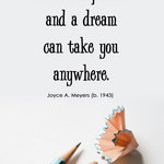 a No.2 Pencil with shavings and a quote from Joyce Meyers about a pencil and a dream