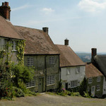 a photograph of looking down Gold Hill, Shaftesbury, Dorset, England