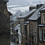 a photograph of a street in Pateley Bridge, North Yorkshire, England in winter